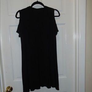 Black, cold-shoulder, turtle neck, dress